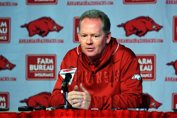 Arkansas Democrat-Gazette/MICHAEL WOODS  --03/13/2012--  University of Arkansas coach Bobby Petrino talks to reporters about the forthcoming spring practice during a news conference Tuesday afternoon at the University of Arkansas.