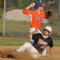 Orin Orlopp, a Rogers Optimists second baseman, throws to first after tagging runner Texarkana Razor...