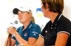Stacy Lewis (left) and University of Arkansas head coach Shauna Estes-Taylor speak during a news conference at Pinnacle Country Club in Rogers during the pro-am on Wednesday, June 27, 2012, as part of the Wal-Mart NW Arkansas Championship.
