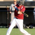 Bentonville's Trent Hill slams a two-run-triple against Fort Smith Kerwins Sportmen at Tiger Athleti...