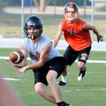 Dalton Faulk of Prairie Grove grabs a pass in an NWA Passing League 7-on-7 game against Gravette at ...