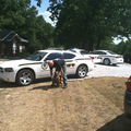The scene of a manhunt Tuesday in Pea Ridge.