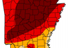 The latest U.S. Drought Monitor for Arkansas shows more than 40 percent of the state in dark red because it is under an exceptional drought.