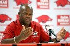 Arkansas Democrat-Gazette/JASON IVESTER --07/30/12-- Head coach Mike Anderson speaks to members of the media before men's basketball practice inside Bud Walton Arena in Fayetteville on Monday, July 30, 2012.
