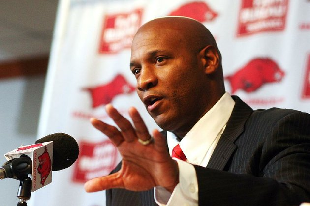 arkansas-democrat-gazettewilliam-moore-paul-haynes-speaks-during-a-press-conference-after-accepting-the-job-as-defensive-coordinator-for-the-arkansas-razorback-football-team-monday-december-12-2011-at-the-broyles-center-in-fayetteville