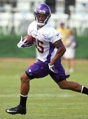 Minnesota Vikings wide receiver Greg Childs tore the patellar tendon in both knees Saturday at training camp in Mankato, Minn.