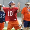 Josh Qualls, a Rogers Heritage quarterback, passes the ball Wednesday during the War Eagles' practic...