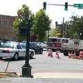 Traffic on North College Avenue was blocked briefly Wednesday after a city worker was injured workin...