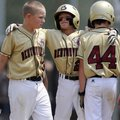 Bentonville's Gabe Holley, center, hugs David Marts, left, and Sawyer Price following the All-Stars'...