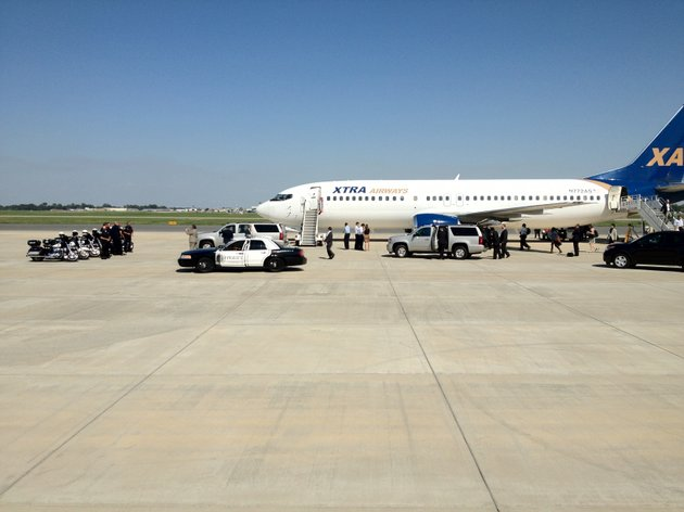 mitt-romney-arrived-in-little-rock-for-a-campaign-fundraiser-wednesday-afternoon-this-plane-carried-the-republican-presidential-candidate-and-his-entourage