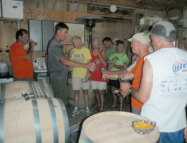 Some on the rumble trip toured a winery during an overnight stop at Klondike county park in St. Charles county, Mo.