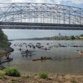 Paddlers on the Great River Rumble start their 146-mile trip down the Missouri River at Jefferson Ci...