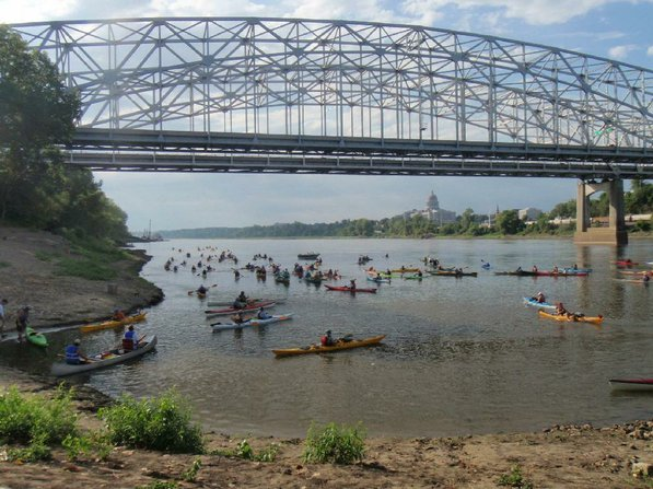 Paddlers on the Great River Rumble start their 146-mile trip down the Missouri River at Jefferson City, Mo., on July 29. They took out a the confluence of the Missouri and Mississippi rivers on Aug. 4.