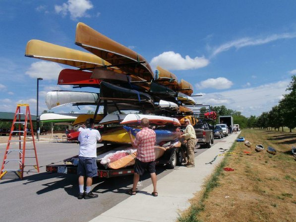 A huge trailer provided by the Wenonah canoe and Current Designs kayak company transported the rumblers' boats from the take-out near Alton, Ill., to the start of the trip at Jefferson City, Mo.