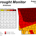 The weekly drought monitor showed improving conditions in Arkansas.