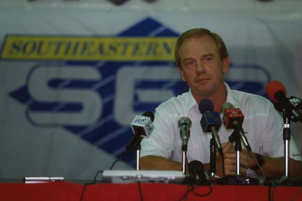 Former Arkansas Coach Jack Crowe speaks to reporters during the Razorbacks' media day in 1992. Crowe, who brings Jacksonville State to Reynolds Razorback Stadium on Saturday, was fired by former Athletic Director Frank Broyles one game into his third season, a 10-3 loss to The Citadel.