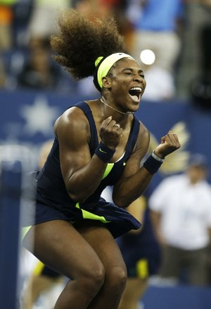 Serena Williams beat No. 1 ranked Victoria Azarenka of Belarus 6-2, 2-6, 7-5 on Sunday in the championship match at the U.S. Open in New York. Two points from defeat, Williams regained her composure to come back and win the last four games.