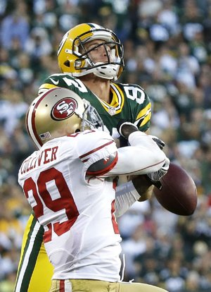 San Francisco's Chris Culliver breaks up a pass intended for Green Bay's Jordy Nelson during the second half on Sunday afternoon.