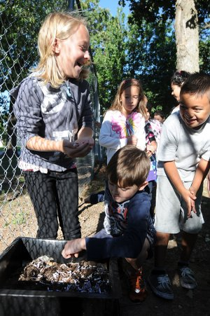 Grace Robbins, 7, left, laughs Monday as she holds a worm as Dawson Greenman, 7, center, grabs his own and Misael Sales, 7, looks at Bonnie Grimes Elementary School's outdoor classroom in Rogers. The class was shown the classroom's new worm composting box.