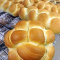 A special round loaf of challah cools on a rack at Stone Mill Bread and Flour Co. in Fayetteville on...