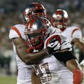 Rutgers defensive back Wayne Warren (27) celebrates after his third-quarter interception of a pass b...