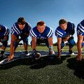 The Rogers High offensive line, Edwin Santos, from left, Austin Hughes, Bryce Bray, Drew King and Gr...
