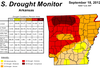 The weekly U.S. Drought Monitor shows continued improvement in Arkansas.