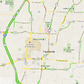 A Google map showing real-time traffic conditions Wednesday afternoon.