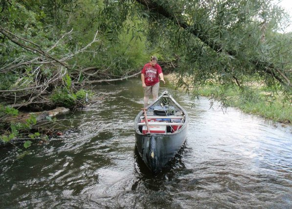 Low water meant getting the canoe under trees or around log jams. Alan Bland works to get the boat through a jungle of trees.