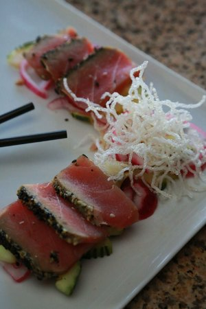Nagasaki Tuna Tataki is a first plate at RJ Tao Restaurant & Ultra Lounge.