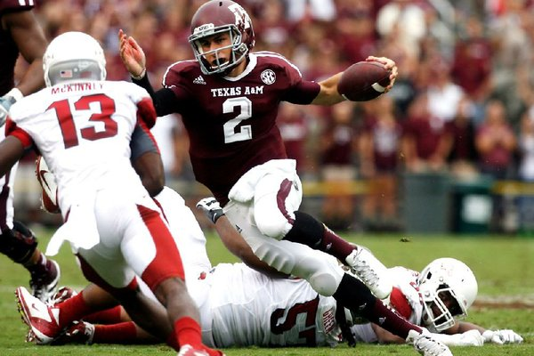 Johnny Manziel accounted for 557 yards of total offense in a 58-10 win over Arkansas on Sept. 29, 2012 at Kyle Field in College Station, Texas.