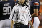 Auburn coach Gene Chizik watches from the sidelines in the first half of an NCAA college football game against LSU Saturday, Sept. 22, 2012 at Jordan-Hare Stadium in Auburn, Ala.  (AP Photo/Dave Martin)
