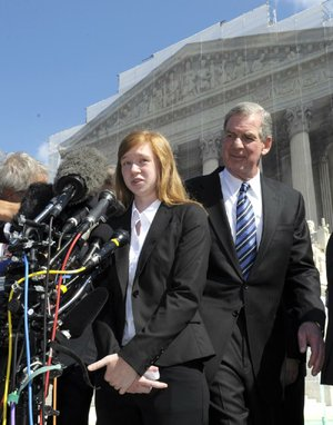 Abigail Fisher and her attorney, Bert Rein, discuss the Supreme Court session on her affirmative-action case against the University of Texas.