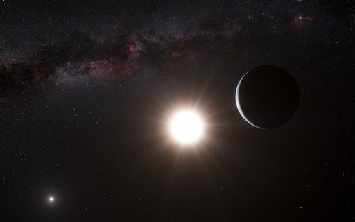 this-artists-impression-made-available-by-the-european-southern-observatory-on-tuesday-oct-16-2012-shows-a-planet-right-orbiting-the-star-alpha-centauri-b-center-a-member-of-the-triple-star-system-that-is-the-closest-to-earth-alpha-centauri-a-is-at-left-the-earths-sun-is-visible-at-upper-right-searching-across-the-galaxy-for-interesting-alien-worlds-scientists-made-a-surprising-discovery-a-planet-remarkably-similar-to-earth-in-a-solar-system-right-next-door-other-earth-like-planets-have-been-found-before-but-this-one-is-far-closer-than-previous-discoveries-unfortunately-the-planet-is-way-too-hot-for-life-and-its-still-25-trillion-miles-away