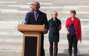 TV host Montel Williams speaks in favor of medical marijuana Thursday, Oct. 18, 2012, on the state Capitol steps in Little Rock.