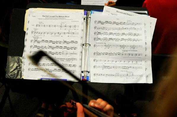 Notes on paper become beautiful music during a Bentonville High School orchestra practice.