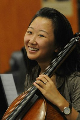 Diane Wang is all smiles after the BHS orchestra finished a difficult piece of music.