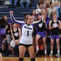 Fayetteville's Taylor Crockett (from left), Andrea Kathol and Mikayla Avery celebrate a point in the...