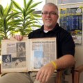 Eddie Greenhaw at his office Wednesday in Gentry, was the quarterback of the 1977 Decatur High Schoo...