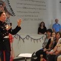 Retired U.S. Marine Cpl. Aaron Mankin emphasizes the importance of Veterans Day during the Westside ...