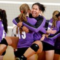 Paige Gocke, standing, and Mikayla Avery, both Fayetteville seniors, celebrate Thursday following a ...