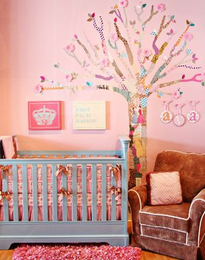 This do-it-yourself decoupage tree was designed for a baby nursery by ProjectNursery.com.