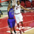 Arkansas forward Coty Clarke (4) blocks a shot by Southwest Baptist forward Jaywuan Hill during the ...