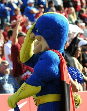 Tulsa mascot Captain 'Cane expresses his dismay after Arkansas recovered a Golden Hurricane fumble in the fourth quarter. The Hurricane had four fumbles in the game and recovered three of them. The Razorbacks fumbled three times and lost one.