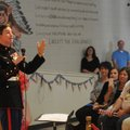 U.S. Marine Cpl. Aaron Mankin emphasizes the importance of Veterans Day Friday during Westside Eleme...