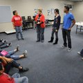 University of Arkansas students Dulce Ortiz, from left, Jeanette Arnhat, Marianela Alicea, Joseph Be...