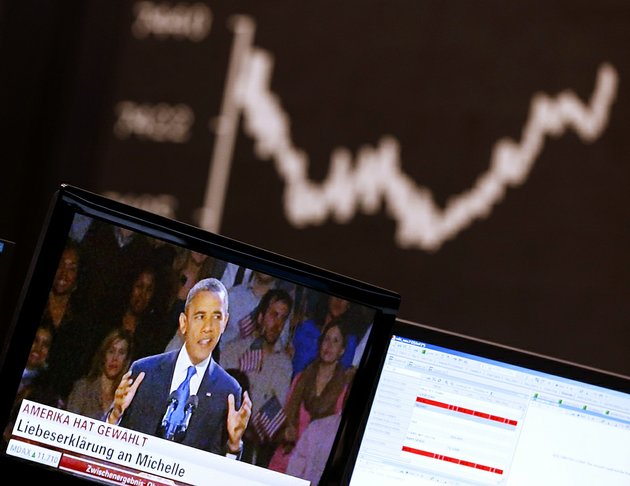 the-curve-of-the-german-stock-index-dax-is-pictured-as-news-about-the-us-election-appears-on-a-television-screen-at-the-stock-market-in-frankfurt-on-wednesday-nov-7-2012