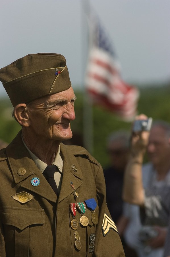 Retired Sgt. Eugene Keister smiles ...