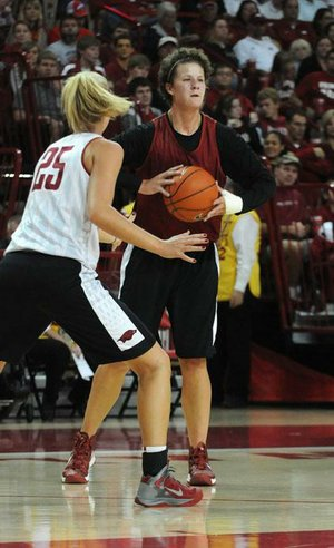 "Arkansas center Sarah Watkins, a second-team preseason All-SEC selection, has been working on the mental side of her game in the offseason. ""When I do something wrong, I'm really just trying to let it go,"" she said. ""It has been difficult for me in the past, but I think I'm getting better."""