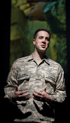 "Zach Kenney portrays 1st Lt. Leonard Cowherd III in the Griffin Theatre production of ""Letters Home,"" on stage for Veterans Day Sunday at the Walton Arts"
